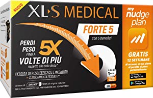 XL-S MEDICAL Forte 5 Pastiglie Dimagranti Forte, Trattamento Dimagrante con 5 Benefici in 1, App My Nudge Plan Inclusa, 180 Compresse