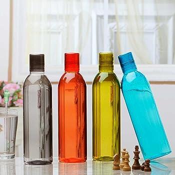 Steelo Savory Plastic Water Bottle, 1 Litre, Set of 4, Multicolour