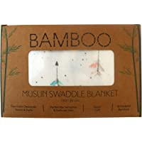 XL Unisex Premium Bamboo Baby Muslin Swaddle Blanket/Wrap - 120x120cm (47x47in) - 70% Bamboo / 30% Cotton : Lightweight, Breathable & Super Soft : Suitable for Newborn Baby Boys or Girls