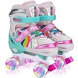 Sumeber Ställbara rullskridskor för barn, med ljusa hjul rullskridskor bekväma och andningsbara fyrhjuliga skridskor för flic
