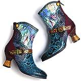 Camfosy Botines de piel para mujer, talones de gatito coloridos, botines cortos, forrados, elegantes y retro, con cremallera,