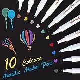 Pennarelli Metallici, set di 10 colori assortiti Penna per vernice per libro degli ospiti Carta per matrimonio in vetro Album