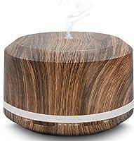 Diffusore di Oli Essenziali, 450ml LUSCREAL Diffusore di Aromi e Umidificatore Ultrasuoni Grana del Legno per Grandi Ambiente con Modalità di Nebulizzazione Regolabile, 4 Regolazioni Timer e 8 Luci Colorate