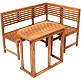 Saigon Eckbank mit Tisch Gartenbank Holzbank Sitzbank Bank Gartenmöbel Parkbank Sitzgarnitur 150/100cm FSC® 100% Eukalyptusholz
