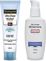 Neutrogena Ultra Sheer Dry Touch Sunblock, SPF 50+, 30ml and Neutrogena Oil Free Moisture For Combination Skin, 118ml
