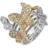 1,35quilates (de quilate) 14K oro blanco redondo diamante señoras 3tono cóctel mariposa mano derecha anillo