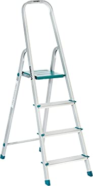 Amazon Brand – Solimo 4-Step Foldable Aluminum Ladder, rust proof and certified by European Standard EN 131