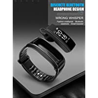 virgingizmo Y3 Plus Soft TPU Smart Wristband with Bluetooth Headphone, Heart Rate/Blood Pressure Monitory, Activity Tracker, Pedometer, Message/Call Notification, Camera and Find Phone Control