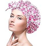 Gorra de ducha femenina, impermeable, reutilizable, especialmente grande, para cabello largo, capaz de ajustar la mayoría de