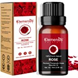 Elemensis Naturals Pure & Natural Rose Essential oil Pure and Natural Therapeutic grade Steam distilled oil for skin care, Ha