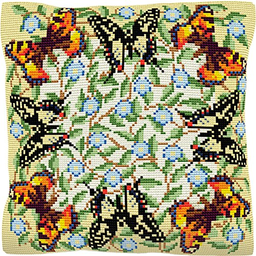 Brigantia Needlework 40.5 x 40.5 cm Canvas Tapestry Cushion Front Kit in Cross Stitch Butterflies