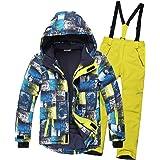 SXSHUN Niños Traje de Esquí 5000mm Chaqueta Impermeable Soft Shell para Nieve Peto de Nieve Conjunto Caliente de 2 Piezas