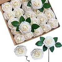 ACDE Fiori Artificiali, Rosa Artificiali 25 Pezzi Rose Finte Schiuma Aspetto Reale con Foglia e Gambo Regolabile per DIY…