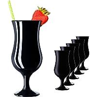 PLATINUX Lot de 6 verres à cocktail en verre noir max. 470 ml