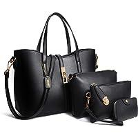 TIBES PU cuir sac à main + épaule de sac de femmes de la mode + porte-monnaie + carte 4pcs mis Noir1