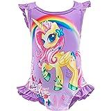 Lito Angels Traje de baño de una pieza de unicornio traje de baño traje de baño para niñas de 3 a 10 años, azul, rosa fuerte,