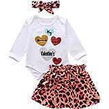 Haokaini bebé recién Nacido Infantil Trajes del día de San valentín Mameluco + Pantalones Falda Diadema Ropa de Leopardo para