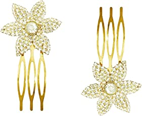 AccessHer: Trendy Indo Western Wedding and Party Wear Fancy White Hair Accessories Hair Clip Side Pin Comb Pin Jooda Pin for Girls and Women
