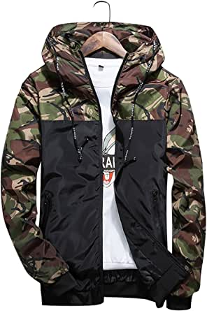 shepretty Men's Camouflage Hooded Windproof Jacket