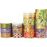 YUBX 15 Rouleaux Washi Tape Ruban Adhésif Papier Décoratif Masking Tape pour Scrapbooking Artisanat de Bricolage (Splendid Em