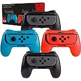 Orzly Grips (Poignées) Compatible avec Nintendo Switch Joy-Cons pour Plus De Confort - Quad Pack (2X Noir 1XRouge 1XBleu) Compatible Super Smash Bros Ultimate pour Nintendo Switch