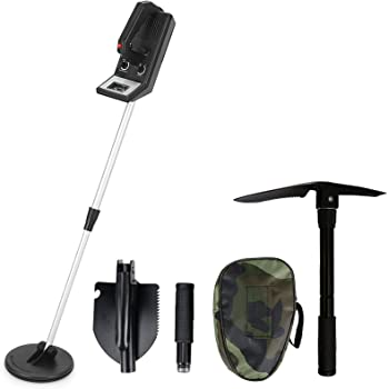 """Voilamart Discriminating Metal Detector All-Round Treasure Seeker Underground Gold Digger Tracker Coin Hunter with Adjustable Sensitive and Stem 6.75"""" Waterproof Search Coil"""
