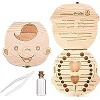 Comius Sharp Boîte à dents en bois pour bébé, récipient de stockage pour dents pour enfant, boîte à dents avec pince à…