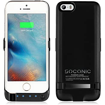 Newest Slim iPhone 5 SE 5S Extended Battery Case,Soconic 4200mAh Portable Charger Power Bank Case with Pop-out Viewing Stand 4 LED Lights [With A Screen Protector] - Black