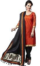 Applecreation Women's Bhagalpuri Silk Dupatta, Free Size (Black, DUP3018_1)