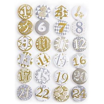 1a qualit t 24 adventskalender buttons in silber gold adventskalender zahlen zum selber basteln. Black Bedroom Furniture Sets. Home Design Ideas