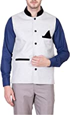 Akaas Men's Cotton Blend Nehru and Modi Black Jacket Ethnic Style For Party Wear