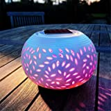 Solarize ® Solar Light Table Elegant Ceramic Lantern, LED Decorative Outdoor Lamp, 2 Function Soft White I Colour…