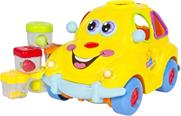 BAYBEE Funbee Kids Self Driving Fruit Car Toy with Lights, Sounds, Learning, Activity Functions and Very Interesting Movements (Yellow)