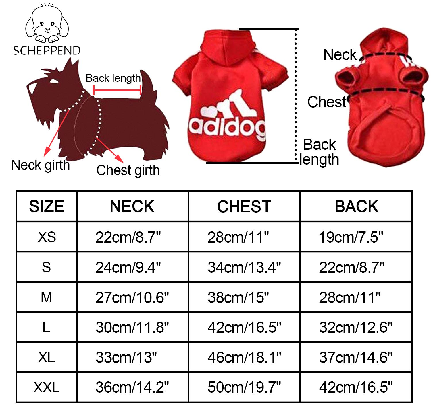 Scheppend Adidog Pet Dog Clothes Winter Coat Jacket Cat Puppy Hoodie Sweaters Cotton Clothing for Small & Medium & Large Dogs 2