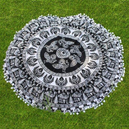 handicrunch-beach-roundies-black-and-white-bird-and-leaf-printed-beach-towel