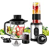 Mini Blender Multifonctionnel 5 en 1 Machine à Smoothie 800W Mixeur Blender 1.2L pour Smoothies Milk-Shake Jus de Fruits Légu