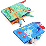 LEADSTAR Libretti per Bambini 0 3 Anni, Libro Stoffa, Bambino Cognition Libro Bebe, Quiet Books, 2 Pezzi Libri in Tessuto Mor