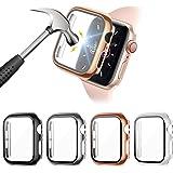FITA [4 Piezas] Protector Funda Compatible con Apple Watch Series 6/5/4/SE 40MM Reloj,PC Case Protector De Pantalla Cristal T