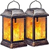 TomCare Solar lights Metal Flickering Flame Solar Lantern Outdoor Hanging Lanterns Lighting Heavy Duty Solar Powered Waterpro