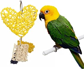 SRI High Qaulity Colorful Heart Shape Wind Chimes Toy for Birds (Yellow)