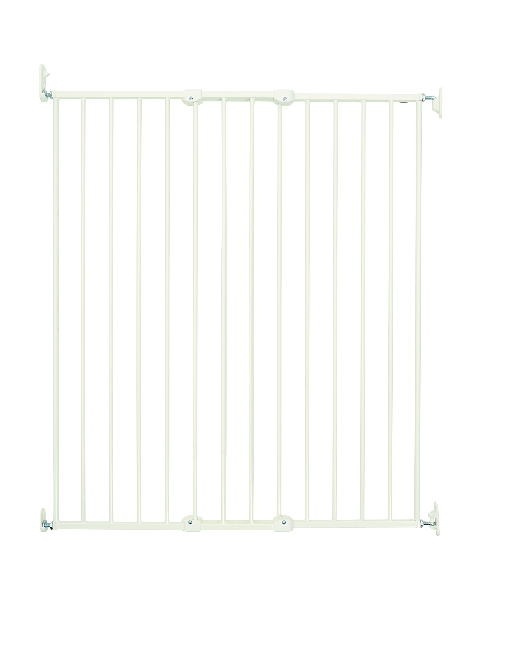 BabyDan Extra Tall Extending Safety Gate, White  Fits openings from 63.5 to 107 cm wide; 103,5 in height when mounted. Extra height designed for protecting pets and toddlers Quick-release fittings for removal when not required [ item screws into the wall ,  The item is quick release leaving just the wall fixing bracket ] 1