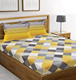Ahmedabad Cotton 144 TC Cotton Double Bedsheet with 2 Pillow Covers - Yellow, Grey