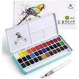 MeiLiang vattenfärg färguppsättning, 36 livliga färger i ficklåda med metallring och bonus vattenfärg borste, perfekt för stu