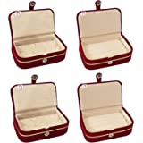 atorakushon Velvet Combo Jewellery Box Ring Box Earrings Necklace Organiser for Women's Set of 4 (Cream)
