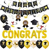 Congrats Balloon Graduation Party Decorations 2021 with We are So Proud of You Banner, Graduation Bunting Black and Gold, We