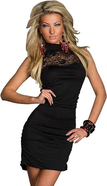 Eng anliegendes Minikleid Kleid Spitze Gr. 36 38 Schwarz ...
