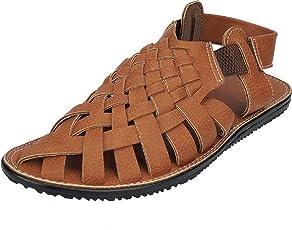 GoodFeel Men's Tan Synthetic Leathetr Sandal - 10