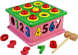 Grizzly 9 Ball Number Counting Wooden Box with Hammer Learning Toy for Kids Ages 3+ Years