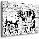 """Banksy"" WASHING ZEBRA ; Graffiti Druck auf leinwand Nr97361723. Bild fertig auf Keilrahmen ! Pop Art Gemälde Kunstdrucke, Wandbilder, Bilder zur Dekoration - Deko / Top 200 ""Banksy"" Streetart Wandbilder"
