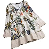 JURTEE Elegante Donna Bluse in Lino,Allentata Taglie Forti Camicia Colore Solido in Cotone, Vintage Magliette A Maniche Lungh